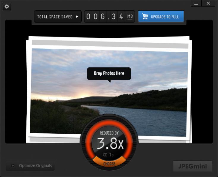 JPEGmini dispose d'une interface soignée, mais il n'est pas en français
