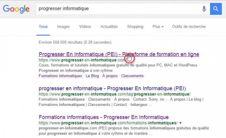 Voici comment s'affiche les résultats d'une recherche Google